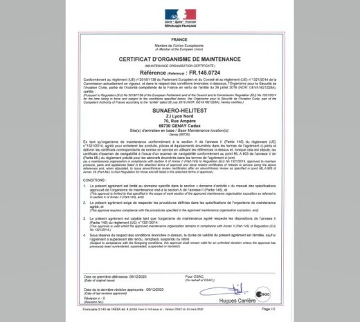 Sunaero EMEA becomes EASA Part 145 in its facility in Lyon (France)